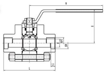 Class 800 ball valve dimension